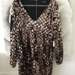 Sequin Stylish Long Sleeve Dress